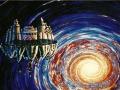 Superimplosione  cosmica-Lorenza Beltrami- smalto  su  vetro