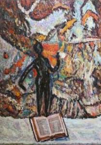 La statuetta nera Olio su tela Artista -Giancarlo Martelli