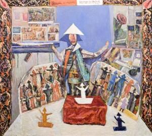 Comizio dell'Uomo di carta- Opera appartenente alla serie -Gli Uomini di Carta