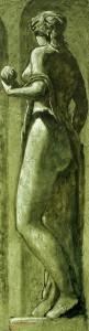 Dubbio, olio su supporto misto, cm 134x36,7 , 2013