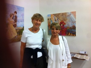 A sinistra  :Pascale Quinio ,curatrice dell'artista Georges, accanto  alla pittrice francese  M. Laville